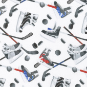 All Star Hockey - Skate and Stick Toss White Multi Yardage