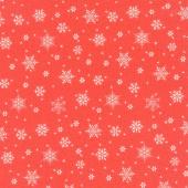 Snowed In - Snowflakes Red Yardage