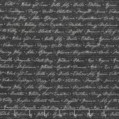 Jardin Du Soleil - Floral Script Black Yardage
