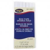 Double Fold Bias Tape - White