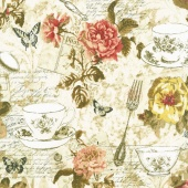 Afternoon Tea - Teapot Teacup Collage Multi Yardage