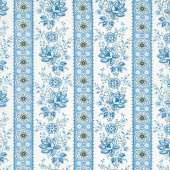 Perfect Union - Floral Stripe Blue Bell Yardage