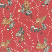 Woodland Pitter Patter - Animals Allover Red Multi Yardage