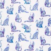 Cat-i-tude - Singing the Blues Artist-O-Cats White Pearlized Yardage