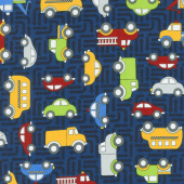 Traffic Jam - Cars Dark Blue Yardage
