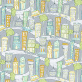 Road Trippin' - Cityscape Grey Yardage