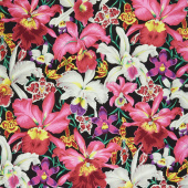 Kaffe Fassett Collective Spring 2018 - Orchids Black Yardage