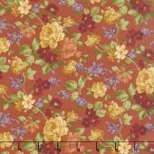Rustic Winds - Medium Floral Rust Yardage