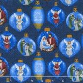 Silent Night - Ornaments Blue Yardage