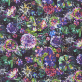 Fiorella - Floral Eclipse Midnight Digitally Printed Yardage