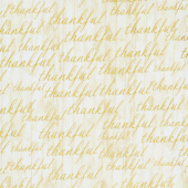 Autumn Beauties - Words Ivory Metallic Yardage