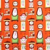 Nursery Rhymes - Clocks Red Yardage