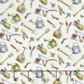 Garden Gate - Garden Tools Cream Yardage