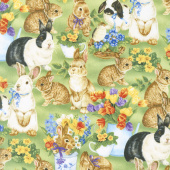 Garden Gathering - Bunnies Allover Green Yardage