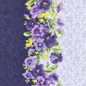 Emma's Garden - Pansy Stripe Purple Yardage