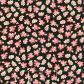 Pink Garden - Small Floral Black Yardage