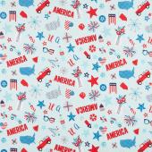 Fireworks & Freedom - America Motifs Aqua Yardage