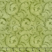 "Beautiful Backings - Elegant Scroll Spring Green 108"" Wide Backing"