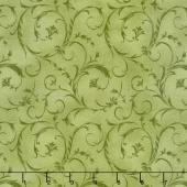 "Beautiful Backings - Elegant Scroll Spring Green 108"" Wide Backing"