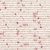 The Little Things - Little Sentiments Natural/Red Yardage