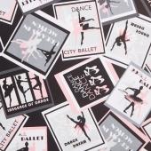 City Ballet - Ballet Poster Black Yardage