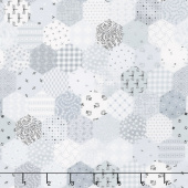 Fade In - Tiny Hexies Bright White Yardage