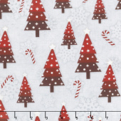 Snowy Wishes - Trees Toss Gray Yardage