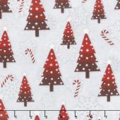 Snowy Wishes - Trees Toss Gray Yardage