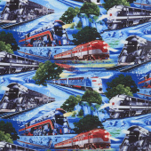 Novelty - Fast Trains Blue Yardage