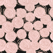 Bliss - Roses Black with Rose Gold Sparkle Yardage