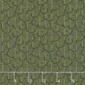 Woolies Heritage Flannel - Stitched Scroll Green Yardage