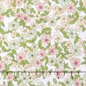 Wonderland 2 - Floral White Sparkle Yardage