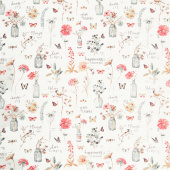 A Country Weekend - Floral Bottles White Yardage