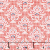Midnight Rose - Damask Coral Yardage