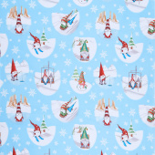 Gnoming Through the Snow - Gnome Vignettes Light Blue Yardage