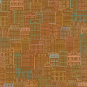 Happy Place - Town Buildings Houses Terracotta Digitally Printed Yardage