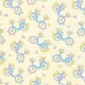 Butterfly Garden - Bicycles N Butterflies Lemon Yardage