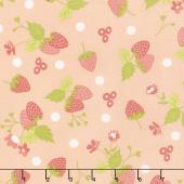Strawberry Jam - Strawberry Polka Dot Blush Yardage