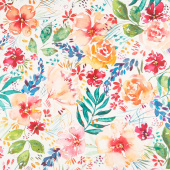 Brightly Blooming - Flower Party White Digitally Printed Yardage