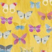 Wonder - Newspaper Butterflies Mustard Yardage