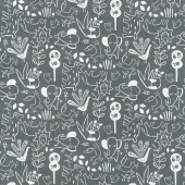 Dream - Animal Outline Charcoal Yardage