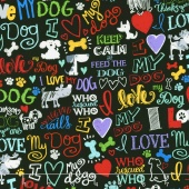 Dogs - I Love My Dog Black Yardage
