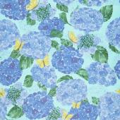 Cottage Bleu - Hydrangeas Dewdrop Yardage
