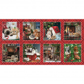 Fireside Kittens - Blocks Red Panel