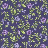 Emma's Garden - Trailing Pansy Dark Purple Yardage