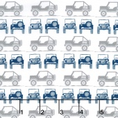 J is for Jeep - Blue Colorway Jeeps Gray Yardage