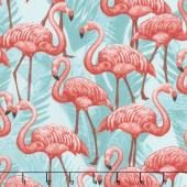 Animals - Flamingos Turquoise Yardage