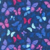 Viva Terra - Small Butterfly Indigo Yardage