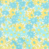 A Blooming Bunch - Daisy Chain Aqua Yardage