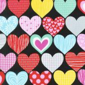 Big Love - Big Hearts Black/Pink Yardage